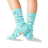 Kid's Igloos Crew Socks in Mint Front
