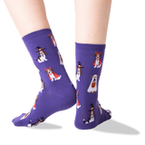 Women's Costume Dogs Crew Socks in Purple Front thumbnail