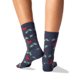 Women's Cardinals Crew Socks in Denim Front