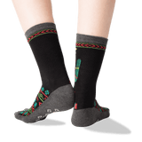 Women's Christmas Cactus Crew Socks in Black Front thumbnail