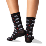 Women's Elephant Love Crew Socks in Black Front thumbnail
