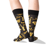 Men's Jazz Instruments Crew Socks in Black Front