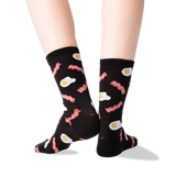 Women's Eggs and Bacon Socks in Black Front thumbnail