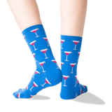 Women's Cosmo Cocktail Crew Socks in Blue Front