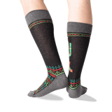 Men's Christmas Cactus Crew Socks in Black Front