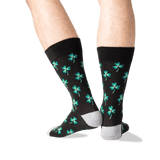 Men's Clover Crew Socks in Black Front thumbnail