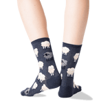 Women's Black Sheep Crew Socks in Denim Front thumbnail