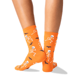 Women's Dancing Skeletons Crew Socks in Orange Front