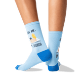 Women's Knish Me Crew Socks in Blue Front