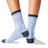 Women's Oy Vey Crew Socks in Blue Heather Front