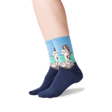 Women's Botticelli's Birth of Venus Socks in Washed Blue Front