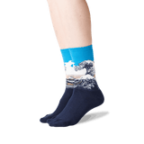 Women's Hokusai's Great Wave Socks in Marine Front