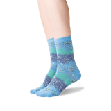 Womens Monet's Water Lilies Socks in Blueshell Front