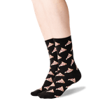 Women's Pizza Crew Socks in Black Front