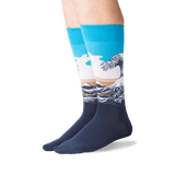 Men's Hokusai's Great Wave Socks in Blue Front thumbnail