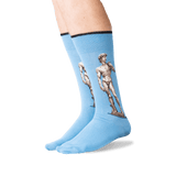 Men's Michelangelo's David Crew Socks in Blue Front