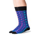 Men's Ombre Dots Crew Socks in Black Front thumbnail