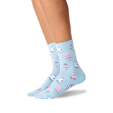 Womens Wedding Cakes Crew Socks in Pale Blue Front thumbnail
