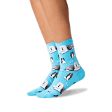 Women's Dogs and Bones Socks in Light Turquoise Front thumbnail