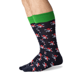 Men's Pirate Skull Crew Socks in Navy Front thumbnail