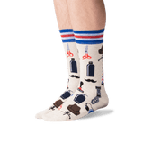 Men's Barber Shop Crew Socks in Natural Melange Front