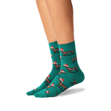 Womens Christmas Dachshunds Socks in Pine Front