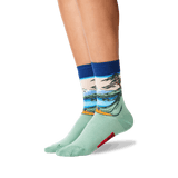 Womens Hokusais Mt. Fuji Over a Lake Socks in Dark Blue Front thumbnail