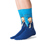 Men's Van Gogh's Self-Portrait Socks in Turquoise Front
