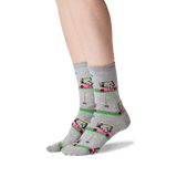 Women's Golf Cart Crew Socks in Sweatshirt Gray Front thumbnail
