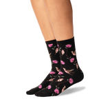 Women's Hummingbirds Crew Socks in Black Front