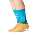 Men's Van Gogh's Wheat Field with Cypresses Socks in Teal Front thumbnail