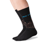 Men's New York Crew Socks in Black Front