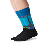 Men's Paris Crew Socks in Teal Front