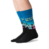 Men's South Beach Crew Socks in Teal Front