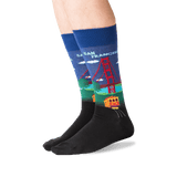 Men's Golden Gate Bridge Socks in Dark Blue Front