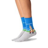 Womens London Crew Socks in Royal Blue Front thumbnail