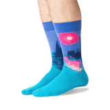 Men's Monet's Houses of Parliament at Sunset Socks in Blue Front
