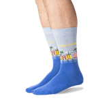 Men's Charleston Crew Socks in Blue Heather Front
