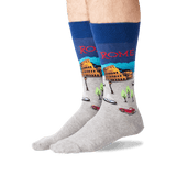 Men's Rome Crew Socks in Dark Blue Front