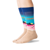 Men's Hawaii Crew Socks in Dark Blue Front