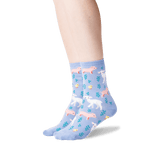 Women's Piglet, Lamb and Chick Socks in Coastal Blue Front thumbnail