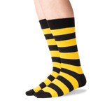 Men's College Rugby Stripe Socks in Black/Yellow Front