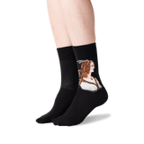 Women's Portrait of a Young Woman Socks in Black Front thumbnail