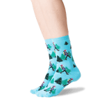 Women's Hiker Crew Socks in Light Blue Front