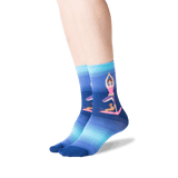 Women's Yoga Girl Crew Socks in Dark Blue Front thumbnail
