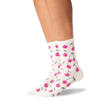 Women's Cherries Crew Socks in Natural Melange Front