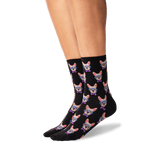 Women's Smart Frenchie Crew Socks in Black Front