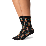 Women's St. Patricks Day Dog Socks in Black Front