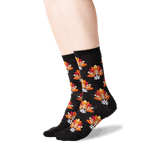 Women's Turkey Dog Crew Socks in Black Front thumbnail