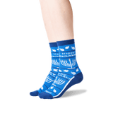 Women's Happy Hanukkah Non Skid Crew Socks in Blue Front thumbnail